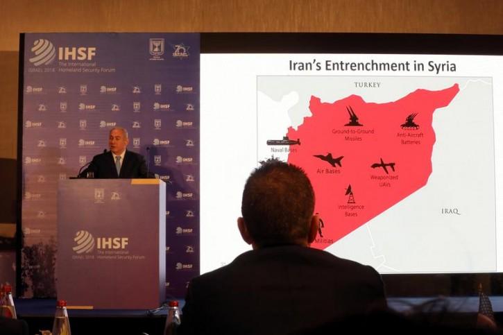 Israeli Prime Minister Benjamin Netanyahu speaks during a presentation to the International Homeland Security Forum conference in Jerusalem, June 14, 2018. REUTERS/Ammar Awad