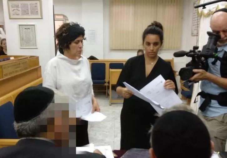 Oshrat Ben-Haim is seen at the rabbinical court in Haifa. (Batya Kahana-Dror)