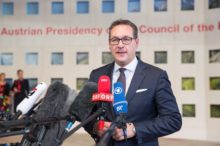 FILE - Austrian Vice-Chancellor Heinz-Christian Strache talks to the media as he arrives at the Austria Center Vienna (ACV) in Vienna, Austria, 06 July 2018. EPA