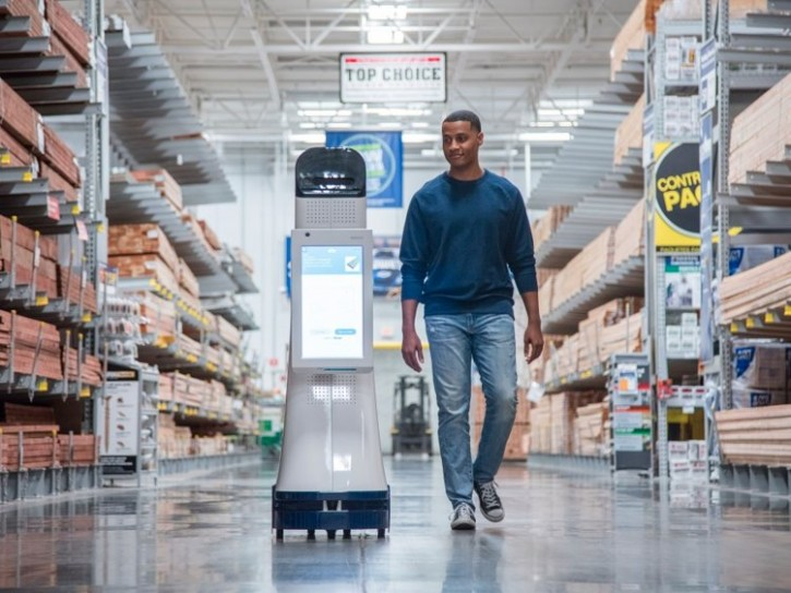 Illustration of robot cart at a Lowes center