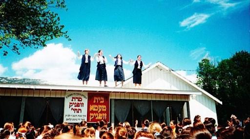 FILE -  Girls at Camp Rav Tov during a color war play (Frimet Goldberger- Forward)