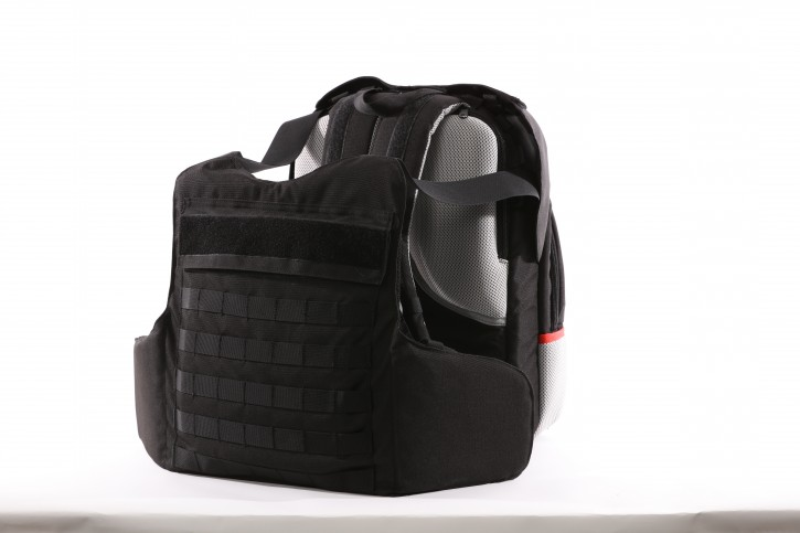 This undated photo provided by the Msada-Armour company, shows a bulletproof backpack. Masada-Armour, an Israeli company, says it has come up with a first-of-its-kind protection gear against the threat of school shootings -- a bulletproof backpack that can transform into a bulletproof vest in less than two seconds by flipping out an armored plate from a concealed compartment. (Masada-Armour via AP)