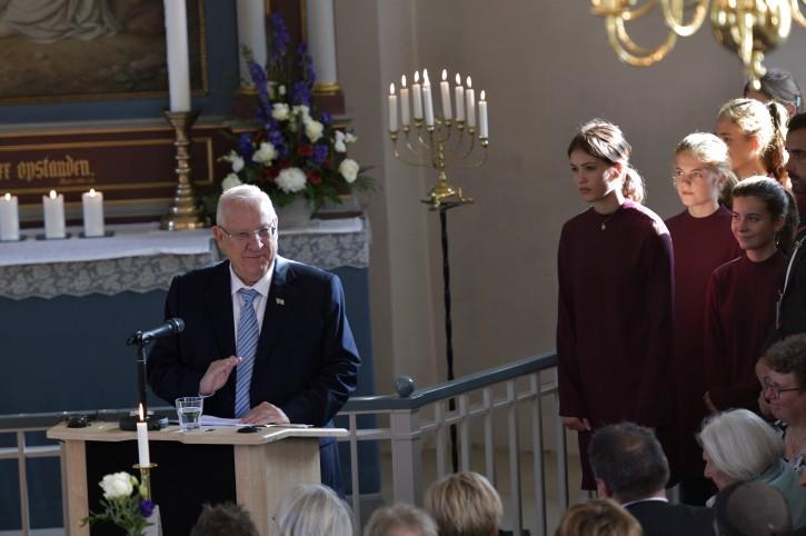 President of Israel Reuven Rivlin (C) speaks during a Memorial Service in Gilleleje Church in Gilleleje, Denmark, 11 October 2018. EPA