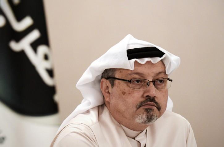 FILE - A general manager of Alarab TV, Jamal Khashoggi, looks on during a press conference in the Bahraini capital Manama, on December 15, 2014. EPA