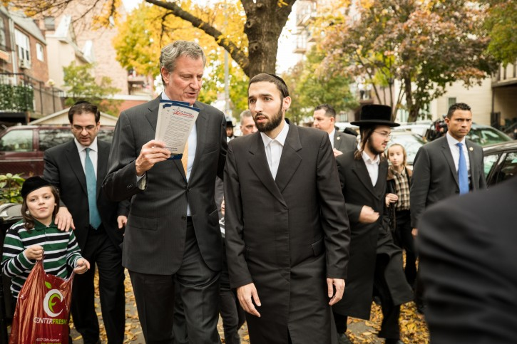 New York City Mayor Bill de Blasio campaigns with Simcha Eichenstein, New York State Assembly Candidate, in the Borough Park neighborhood of the Brooklyn Borough of New York City on November 2, 2018.   CREDIT: Benjamin Kanter