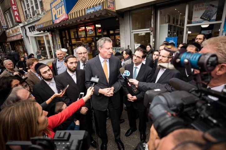 New York City Mayor Bill de Blasio conducts a media availability in the Brooklyn Borough of New York City on November 2, 2018.   CREDIT: Benjamin Kanter