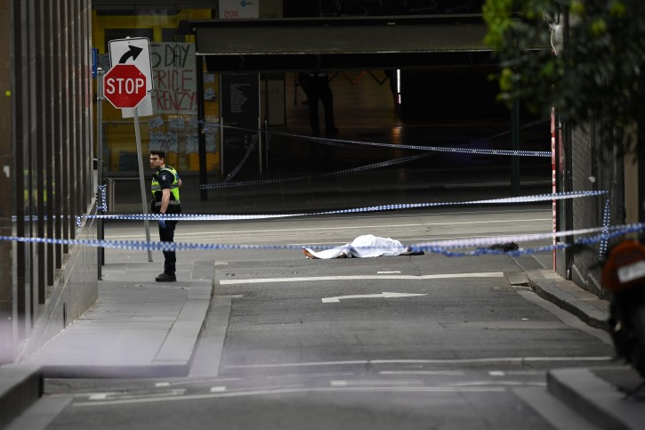 A deceased person is seen on Bourke street after an incident in Melbourne, Australia, 09 November 2018.EPA
