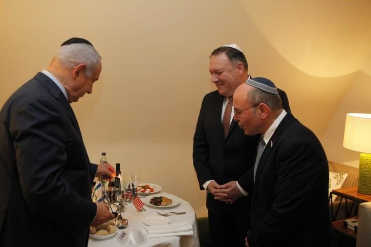 Prime Minister Benjamin Netanyahu met with US Secretary of State Mike Pompeo in Brussels.  (Gaby Farkash)