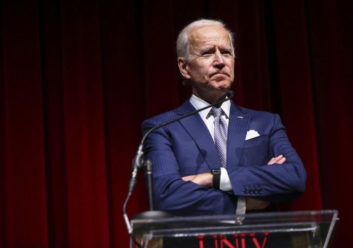 Former Vice President Joe Biden speaks during the UNLV Law Gala in Las Vegas on Saturday, Dec. 1, 2018. (Chase Stevens/Las Vegas Review-Journal via AP)