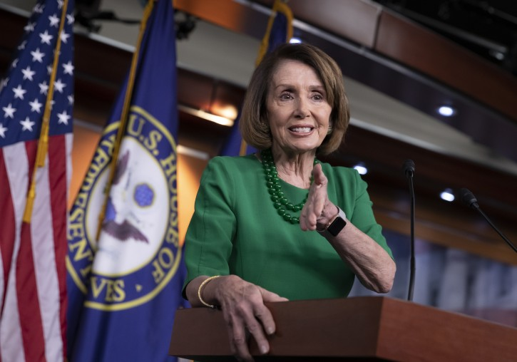 House Democratic Leader Nancy Pelosi of California, the speaker-designate for the new Congress in January, meets with reporters at her weekly news conference on Capitol Hill in Washington, Thursday, Dec. 6, 2018.  (AP Photo/J. Scott Applewhite)