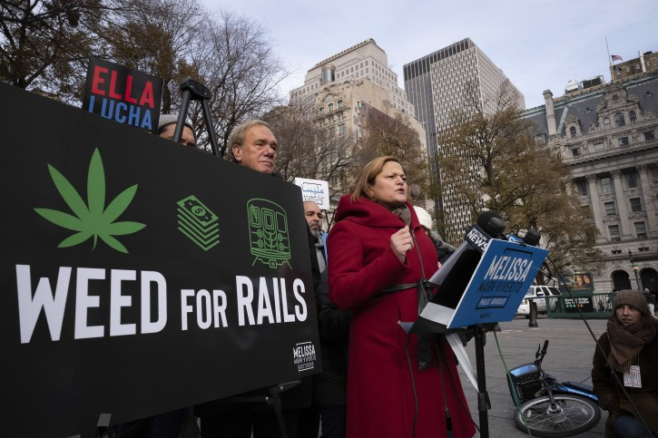 Melissa Mark-Viverito, a candidate for New York City Public Advocate, speaks at a news conference, Thursday, Dec. 6, 2018, in New York. The former New York City Council Speaker is proposing to legalize marijuana sales and use the tax revenue to help fund the city's aging subway system. (AP Photo/Mark Lennihan)
