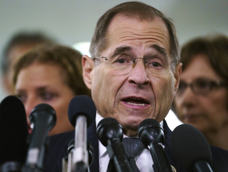 House Judiciary Committee ranking member Jerry Nadler, D-N.Y., talks to media during a Senate Judiciary Committee hearing on Capitol Hill in Washington, Friday, Sept. 28, 2018. AP