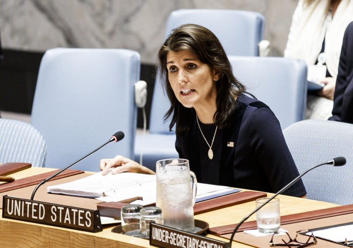 FILE - Nikki Haley, the United States Ambassador to the United Nations, addresses an United Nations Security Council meeting in New York, New York, USA, 17 September 2018.  EPA