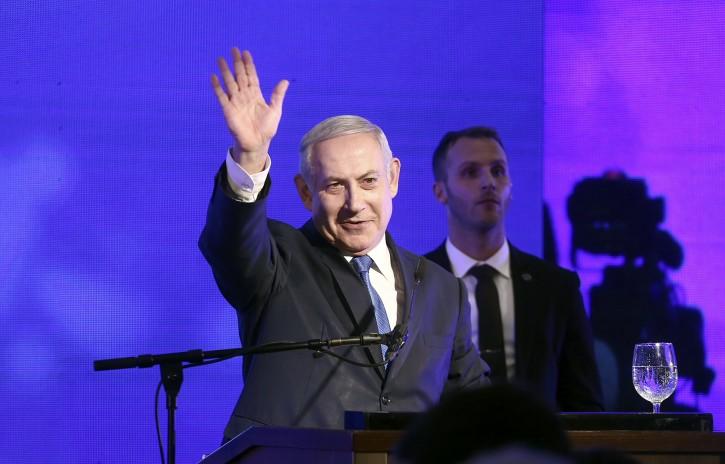 Israeli Prime Minister Benjamin Netanyahu speaks during  lighting candles ceremony for the Jewish holiday of Hanukkah, in Ramat Gan, Israel, 02 December 2018.  EPA