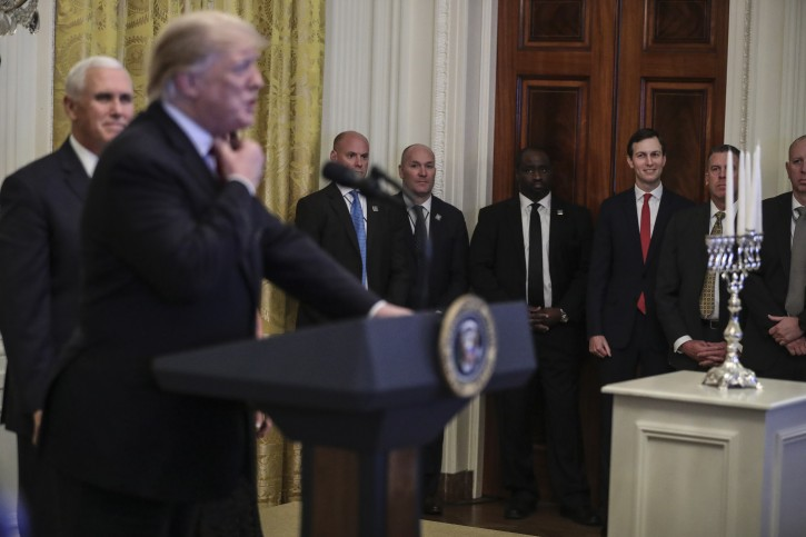 Senior advisor to the President, Jared Kushner looks on as US President Donald J. Trump speaks during a Hanukkah reception in the East Room of the White House in Washington, DC, USA, 06 December 2018.  EPA-EFE/Oliver Contreras / POOL
