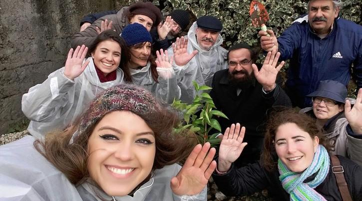 Rabbi Elisha Salas, wearing kippah, celebrates Tu b'Shvat with Belmonte Jews, Feb. 10, 2017. (Courtesy of Shavei Israel)