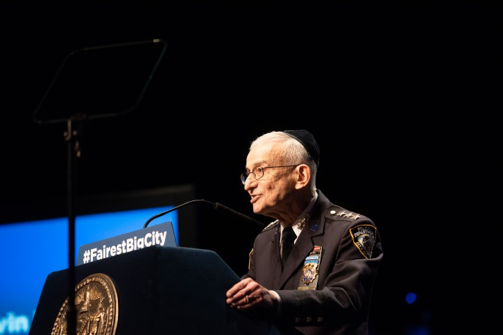 NYPD Chief Chaplin Rabbi Alvin Kass before Mayor Bill de Blasio delivers his sixth State of the City address at the Symphony Space in Manhattan on Thursday, January 10, 2017. (Michael Appleton/Mayoral Photography Office)