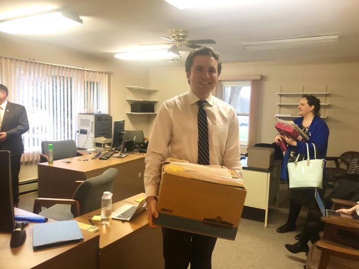 Skoufis setting up his local legislative office in New Windsor. Jan 2, 2019