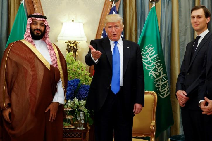 FILE - U.S. President Donald Trump, flanked by White House senior advisor Jared Kushner, meets with Saudi Arabia's Deputy Crown Prince Mohammed bin Salman at the Ritz Carlton Hotel in Riyadh, Saudi Arabia May 20, 2017. REUTERS/Jonathan Ernst