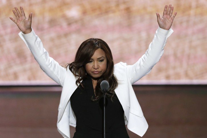 FILE - In this July 20, 2016 file photo, Lynne Patton of the Eric Trump Foundation waves during her speech at the Republican National Convention in Cleveland.  (AP Photo/J. Scott Applewhite, File)
