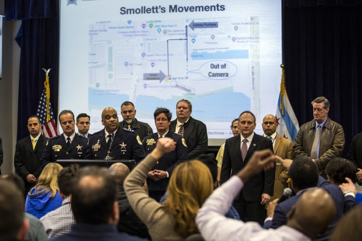 """Chicago Police Supt. Eddie Johnson, fourth from left, speaks during a press conference at CPD headquarters, Thursday, Feb. 21, 2019, in Chicago, after actor Jussie Smollett turned himself in on charges of disorderly conduct and filing a false police report. The """"Empire"""" staged a racist and homophobic attack because he was unhappy about his salary and wanted to promote his career, Johnson said Thursday. (Ashlee Rezin/Chicago Sun-Times via AP)"""