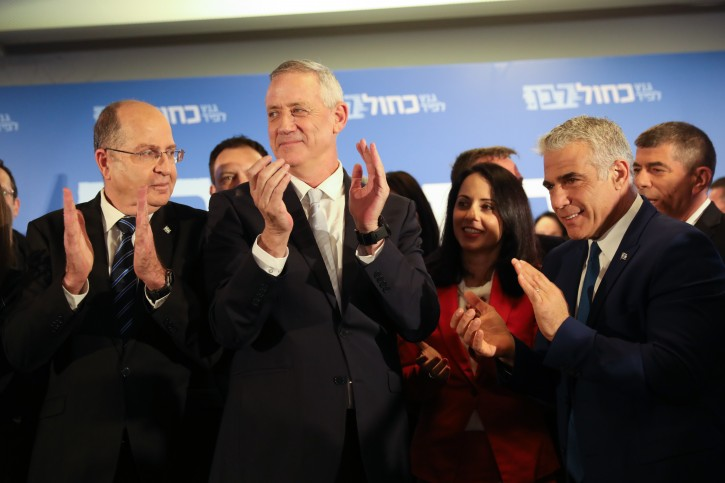 Moshe Ya'alon, Gabi Ashkenazi, Benny Gantz and Yair Lapid of the Blue and White party seen after a statementTel Aviv on February 21, 2019. Photo by Noam Revkin Fenton/Flash90