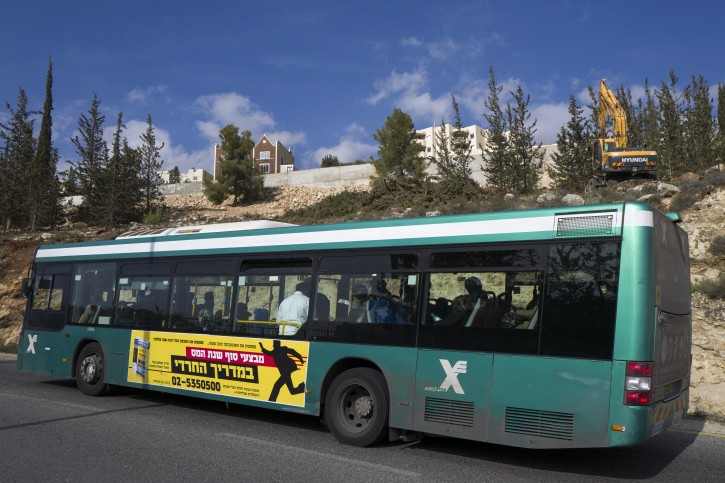 FILE -  An Israeli Egged bus enters the Ramat Shlomo neighborhood in northern Jerusalem, 22 January 2017. EPA