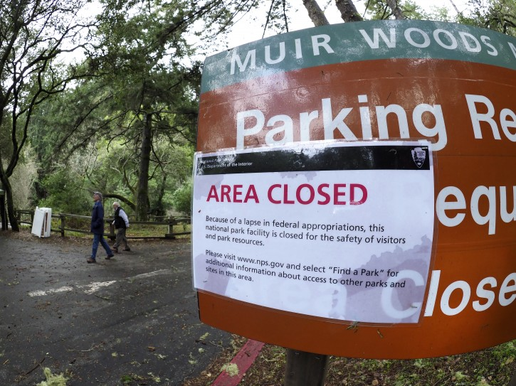 FILE - Hikers walk out of a closed Muir Woods National Monument, part of California's Golden Gate National Recreation Area, north of San Francisco, known for its towering old-growth redwood trees, in Mill Valley, California, USA, 09 January 2019.EPA