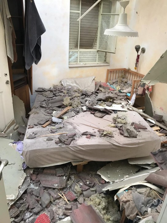 The room where the kids were sleeping shortly before the rocket hit their home