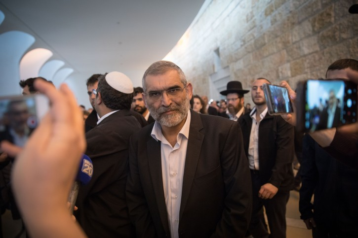 Otzma Yehudit party member, Michael Ben Ari speaks to the media after a court hearing at the Supreme Court in Jerusalem asking to disqualify Otzma Yehudit party member Michael Ben Ari from running in the upcoming elections, March 14, 2019. Photo by Hadas Parush/Flash90