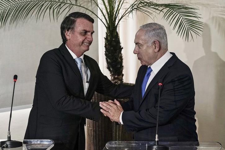 FILE - Brazilian President-elect Jair Bolsonaro (L) and Israel's Prime Minister Benjamin Netanyahu (R) participate during a press conference at the Forte de Copacabana, in Rio de Janeiro, Brazil, 28 December 2018. EPA
