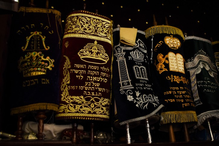 This March 27, 2019 photo shows the Torah scrolls in the ark of Em Habonim Synagogue of Casablanca, Morocco. The city in the North African kingdom once had a thriving Jewish population. Jewish heritage tours to Morocco are common among Jews of Moroccan descent. (Mishael Sims via AP)