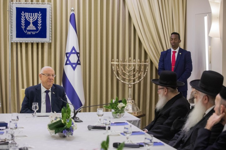 Members of the United Torah Judaism party meet with Israeli president Reuven Rivlin at the President's Residence in Jerusalem on April 15, 2019, as Rivlin began consulting political leaders to decide who to task with trying to form a new government after the results of the country's general election were announced a few days ago. Photo by Yonatan Sindel/Flash90