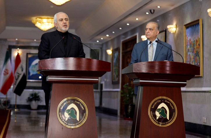 Iranian Foreign Minister, Mohammad Javad Zarif, speaks during a news conference with Iraqi Foreign Minister Mohamed Ali Alhakim in Baghdad, Iraq May 26, 2019. REUTERS/Khalid Al-Mousily