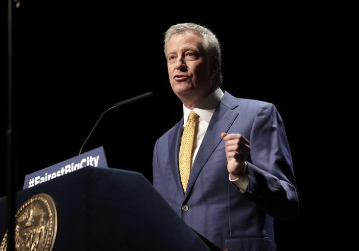 FILE - New York City Mayor Bill de Blasio speaks at his State of the City address in New York, Thursday, Jan. 10, 2019. (AP Photo/Seth Wenig)