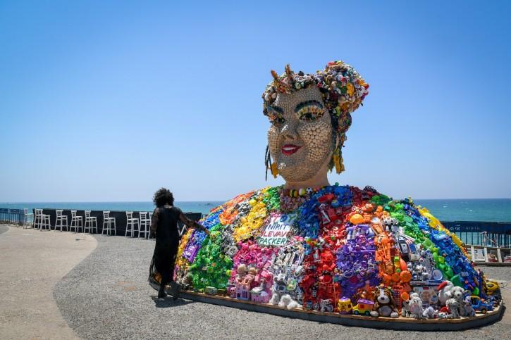 Israeli artist Nirit Levav Packer looks at her sculpture in the form of Israeli singer Netta Barzilai, winner of the 2018 Eurovision Song Contest, in Tel Aviv on May 12, 2019. Photo by Flash90