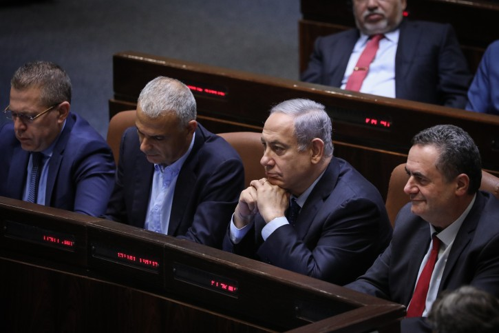 FILE - Prime Minister Benjamin Netanyahu at the Plenum Hall at the Knesset, during a discussion to cancel the 2013 law limiting the number of ministers on May 20, 2019. Photo by Noam Revkin Fenton/Flash90