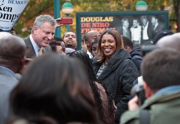 FILE - Letitia James, right, with Bill de Blasio, November 5, 2013 (AP Photo)