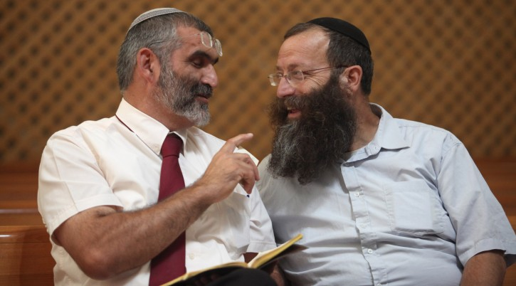 Otzma Yehudit party leaders Michael Ben-Ari, left, and Baruch Marzel, in 2012. (Yoav Ari Dudkevitch/Flash90)