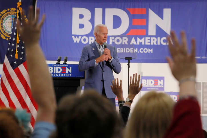 Democratic 2020 U.S. presidential candidate and former Vice President Joe Biden takes questions from the audience at a campaign stop at the IBEW Local 490 in Concord, New Hampshire, U.S., June 4, 2019.   REUTERS/Brian Snyder