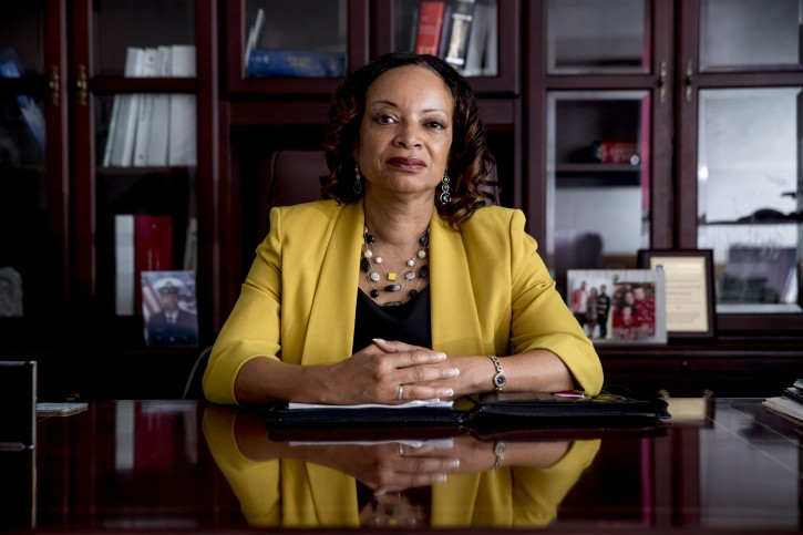 Health and Human Services Office of Inspector General Deputy Inspector General for Audit Services Gloria Jarmon poses for a photograph in her office in Washington, Monday, June 10, 2019. (AP Photo/Andrew Harnik)
