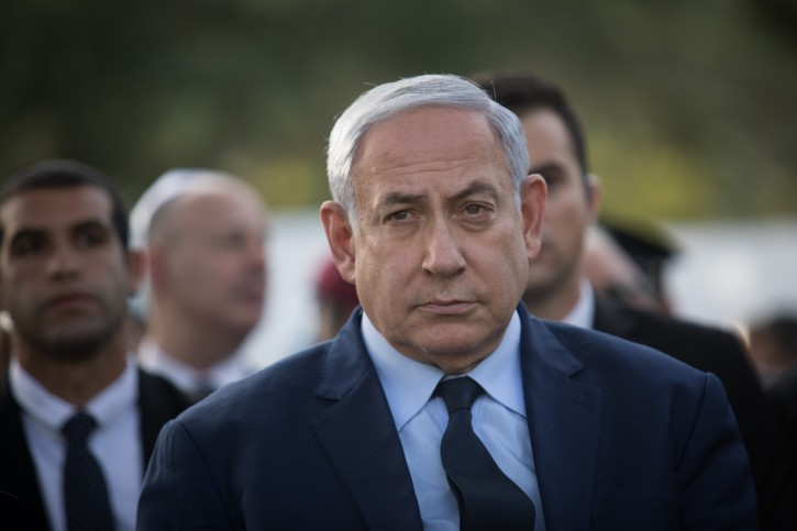 FILE - Prime Minister Benjamin Netanyahu at the funeral of Nechama Rivlin, wife of Israeli president Reuven Rivlin, who passed away yesterday,at Mount Herzl cemetery on June 5, 2019. Photo by Hadas Parush/Flash90