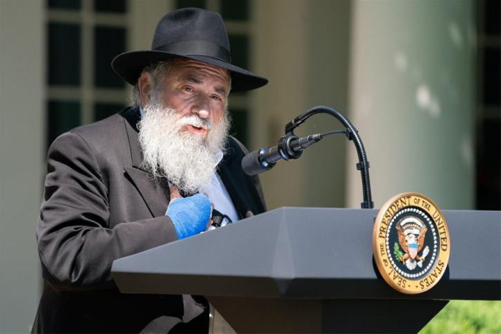 Rabbi Yisroel Goldstein speaks at a National Day of Prayer service in the Rose Garden of the White House in Washington, DC, USA, 02 May 2019. EPA