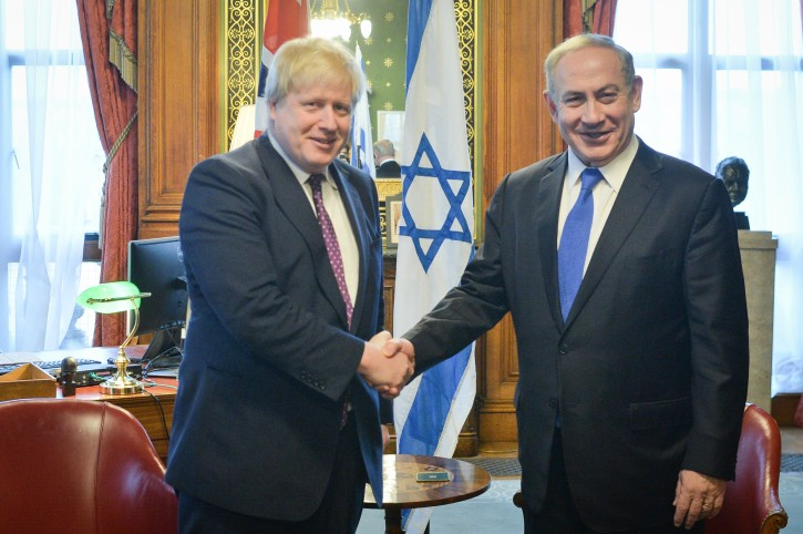 FILE - Israeli prime minister Benjamin Netanyahu (R) meets with British Foreign Secretary Boris Johnson in London, United Kingdom. PM Netanyahu is on official state visit. February 06, 2017. Photo by Kobi Gideon/GPO