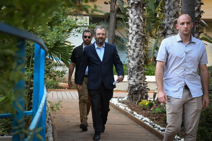 FILE- Former Prime Minister Ehud Barak arrives to a press conference announcing the establishment of a new political party led by him in Tel Aviv on June 26, 2019. Photo by Flash90