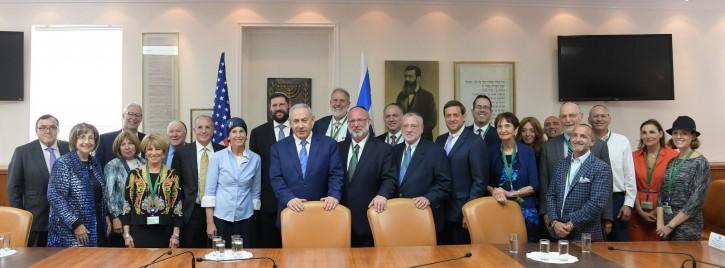 PM Netanyahu & UOJCA leadership PM Netanyahu and the UOJCA leadership. (Amos Ben-Gershom/GPO)