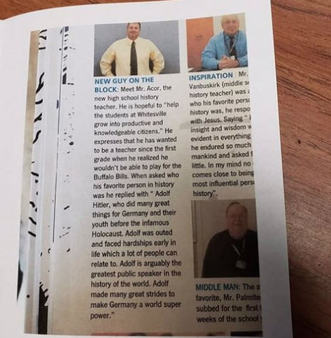A photo of the Whitesville Central School District's 2018-19 yearbook, showing comments from social studies teacher Jeff Acor that appear to be praising Adolf Hitler.  Photo provided to Olean Times Herald