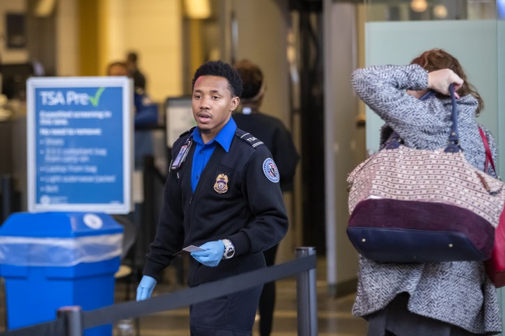 FILE -  A Transportation Security Administration (TSA) agent checks the identification of air travelers at Ronald Reagan Washington National Airport in Arlington, Virginia, USA, 07 January 2019. EPA