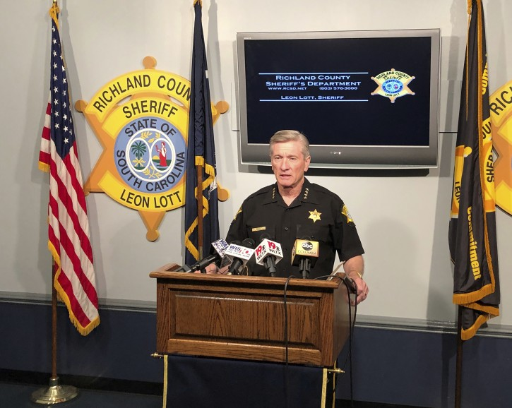 Richland County Sheriff Leon Lott says South Carolina needs a state hate crime law during a news conference Thursday, August 8, 2019, in Columbia, South Carolina. Lott says his deputies couldn't charge a 16-year-old Catholic school student for a racist video pretending like he was shooting black men, instead having to wait for another video to surface of the teen threatening to shoot up Cardinal Newman School. (AP Photo/Jeffrey Collins)