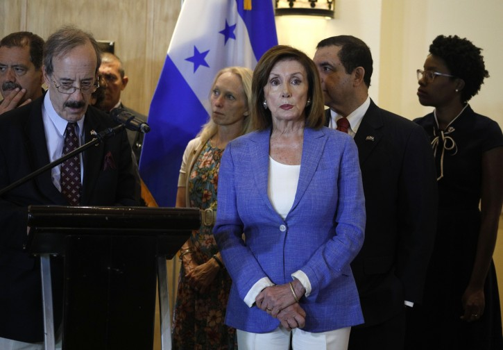 U.S. House Speaker Nancy Pelosi attends a news conference at a hotel in Tegucigalpa, Honduras, Saturday, Aug. 10, 2019. Pelosi is in Honduras as part of a U.S. congressional delegation on a Central American trip that seeks to explore the causes of immigration amid a crisis of migrants on the southern U.S. border. (AP Photo/Elmer Martinez)